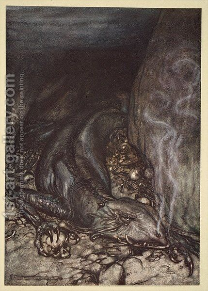 In dragons form Fafner now watches the hoard, illustration from Siegfried and the Twilight of the Gods, 1924 by Arthur Rackham - Reproduction Oil Painting