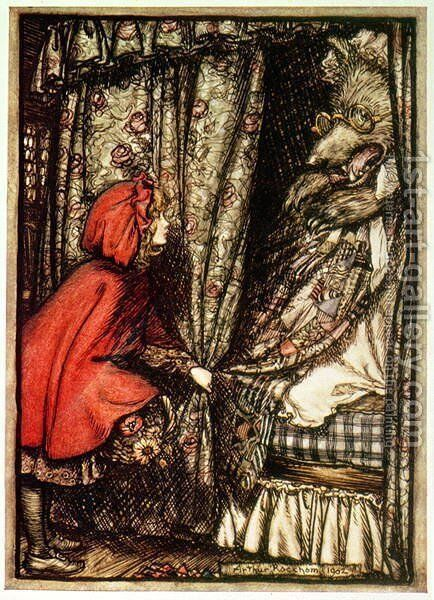 Little Red Riding Hood by Arthur Rackham - Reproduction Oil Painting