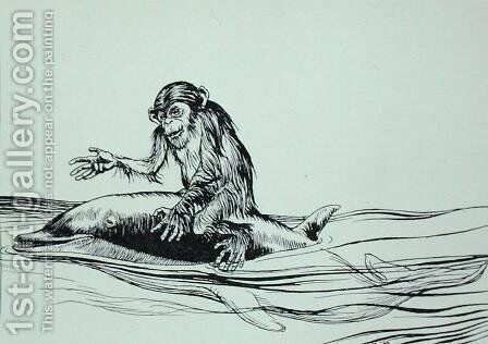 The Monkey and the Dolphin, illustration from Aesops Fables, published by Heinemann, 1912 by Arthur Rackham - Reproduction Oil Painting