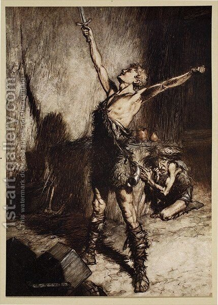 Nothung Nothung Conquering sword, frontispiece from Siegfried and the Twilight of the Gods, 1924 by Arthur Rackham - Reproduction Oil Painting