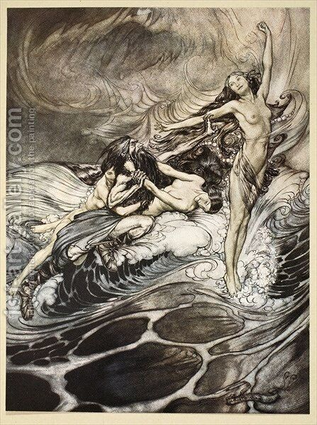 The Rhinemaidens obtain possession of the ring and bear it off in triumph, illustration from Siegfried and the Twilight of the Gods, 1924 by Arthur Rackham - Reproduction Oil Painting