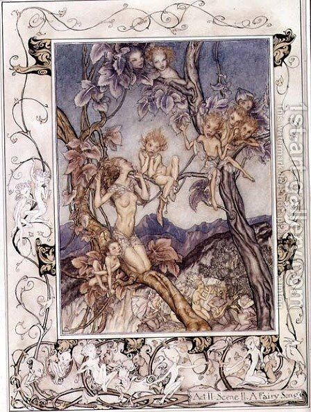 A Fairy Song, from A Midsummer Nights Dream, 1908 by Arthur Rackham - Reproduction Oil Painting