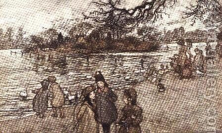 The island on which all the birds are born from Peter Pan in Kensington Gardens by J.M. Barrie, 1906 by Arthur Rackham - Reproduction Oil Painting