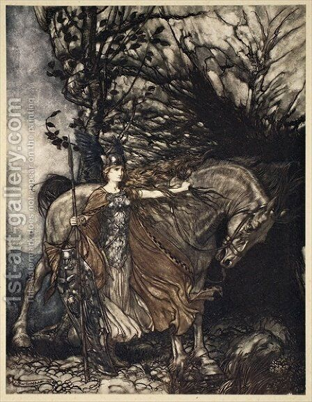 Brunnhilde with her horse at the mouth of the cave, illustration from The Rhinegold and the Valkyrie, 1910 by Arthur Rackham - Reproduction Oil Painting