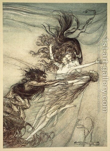 The Rhinemaidens teasing Alberich, illustration from The Rhinegold and the Valkyrie, 1910 by Arthur Rackham - Reproduction Oil Painting