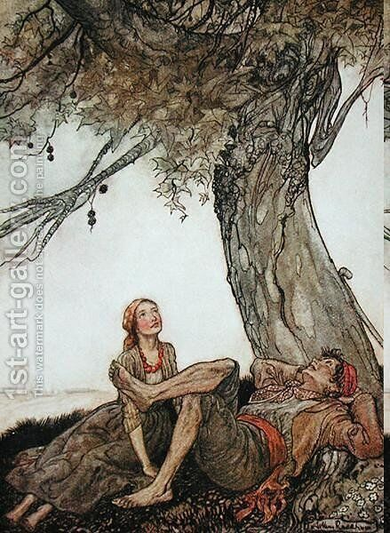 The Travellers and the Plane Tree, illustration from Aesops Fables, published by Heinemann, 1912 by Arthur Rackham - Reproduction Oil Painting
