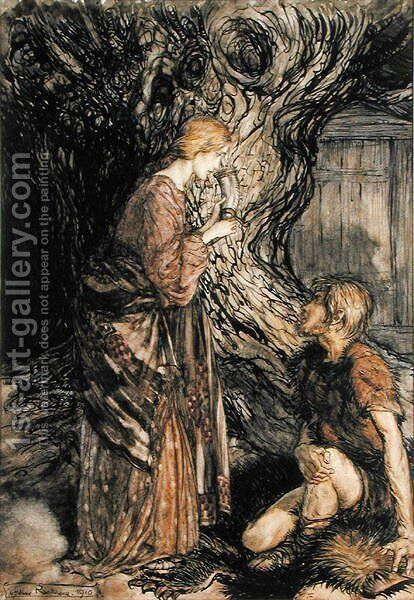 Siegmund and Sieglinde, Illustration from Rhinegold and the Valkyrie by Richard Wagner, Heinemann, 1910 by Arthur Rackham - Reproduction Oil Painting