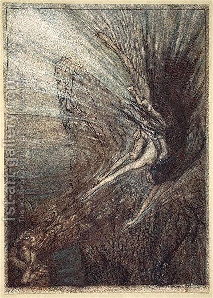 The frolic of the Rhinemaidens, illustration from The Rhinegold and the Valkyrie, 1910 by Arthur Rackham - Reproduction Oil Painting