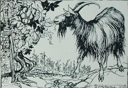 The Goat and the Vine, illustration from Aesops Fables, published by Heinemann, 1912 by Arthur Rackham - Reproduction Oil Painting