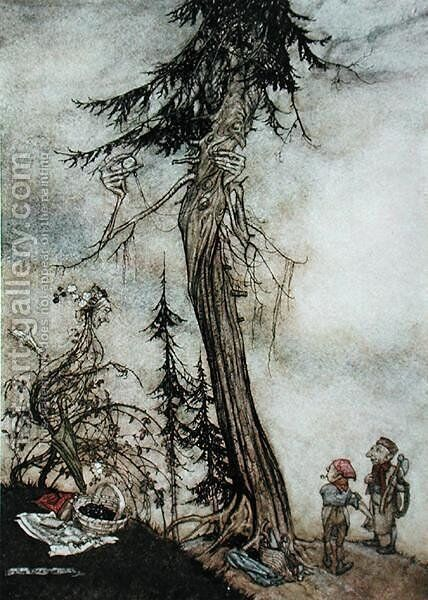 The Fir-Tree and the Bramble, illustration from Aesops Fables, published by Heinemann, 1912 by Arthur Rackham - Reproduction Oil Painting