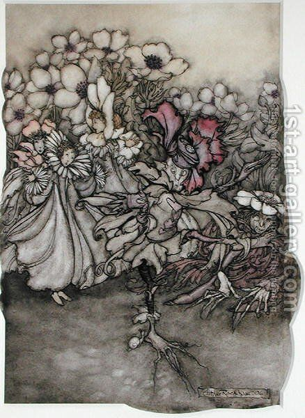 Illustration from Peter Pan in Kensington Gardens by J.M. Barrie 1860-1937 1906 by Arthur Rackham - Reproduction Oil Painting