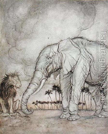 The Lion, Jupiter and the Elephant, illustration from Aesops Fables, published by Heinemann, 1912 by Arthur Rackham - Reproduction Oil Painting