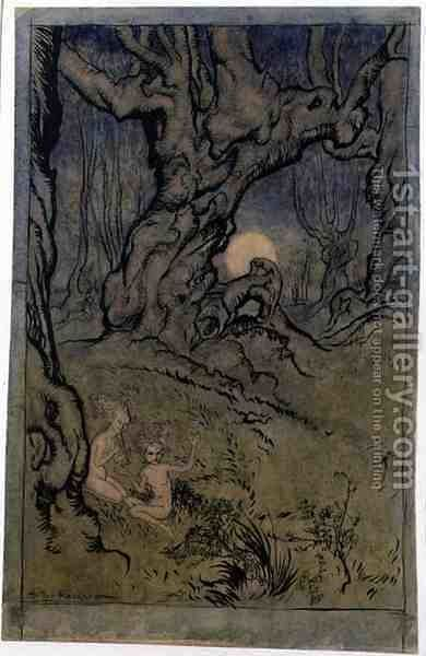 Moonlight Fairies in a Wood by Arthur Rackham - Reproduction Oil Painting