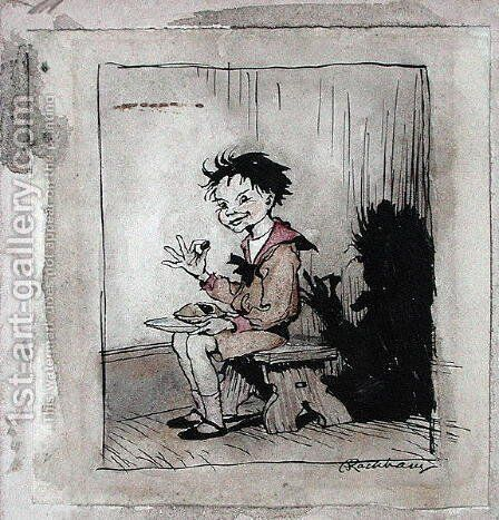 Little Jack Horner, illustration from Mother Goose, The Old Nursery Rhymes, published 1913 by Arthur Rackham - Reproduction Oil Painting