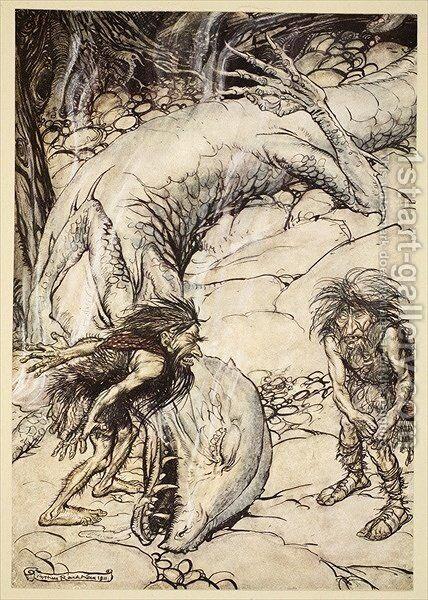 The dwarves quarrelling over the body of Fafner, illustration from Siegfried and the Twilight of the Gods, 1924 by Arthur Rackham - Reproduction Oil Painting
