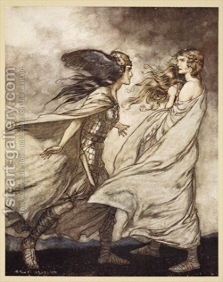 The ring upon thy hand - ..ah be implored For Wotan fling it away, illustration from Siegfried and the Twilight of the Gods, 1924 by Arthur Rackham - Reproduction Oil Painting