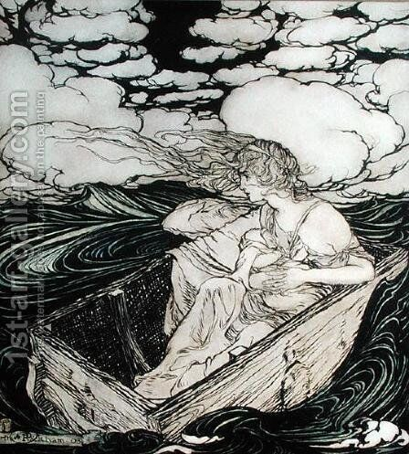 Danae and her son Perseus, 1903 by Arthur Rackham - Reproduction Oil Painting