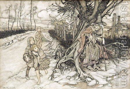 Children startled by a Witch by Arthur Rackham - Reproduction Oil Painting