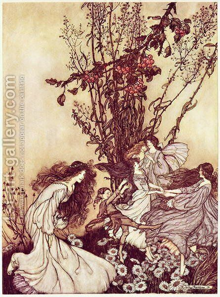 Dancing with the Fairies from Peter Pan in Kensington Gardens by J.M. Barrie, 1906 34 Peter Pan in Kensington Gardens by J.M. Barrie Dancing with the Fairies, 1906 by Arthur Rackham - Reproduction Oil Painting
