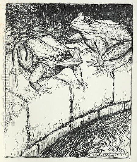 The Frogs and the Well, illustration from Aesops Fables, published by Heinemann, 1912 by Arthur Rackham - Reproduction Oil Painting