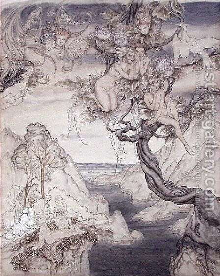 A Fairy Song, drawn for Act II, scene ii, from A Midsummer Nights Dream by Arthur Rackham - Reproduction Oil Painting