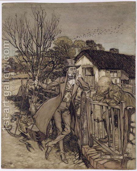 A Bargain With the Devil, 1907 by Arthur Rackham - Reproduction Oil Painting