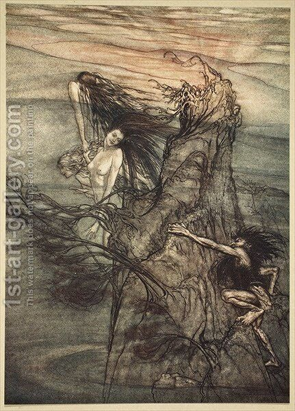 Mock away Mock The Nibelung makes for your toy!, illustration from The Rhinegold and the Valkyrie, 1910 by Arthur Rackham - Reproduction Oil Painting