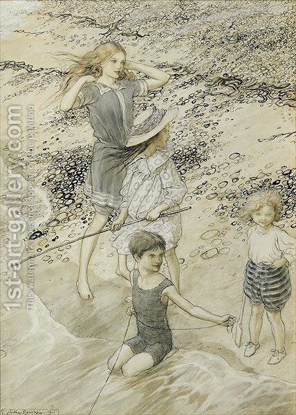 Four Children at the Seashore, 1910 by Arthur Rackham - Reproduction Oil Painting