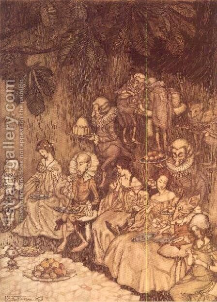 The Feast from Peter Pan in Kensington Gardens by J.M. Barrie, 1906 by Arthur Rackham - Reproduction Oil Painting
