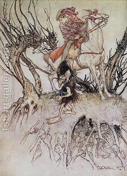 The Knight Hulbrand with a gnome, illustration for the tale Undine by baron de la Motte Fouque, 1909 by Arthur Rackham - Reproduction Oil Painting