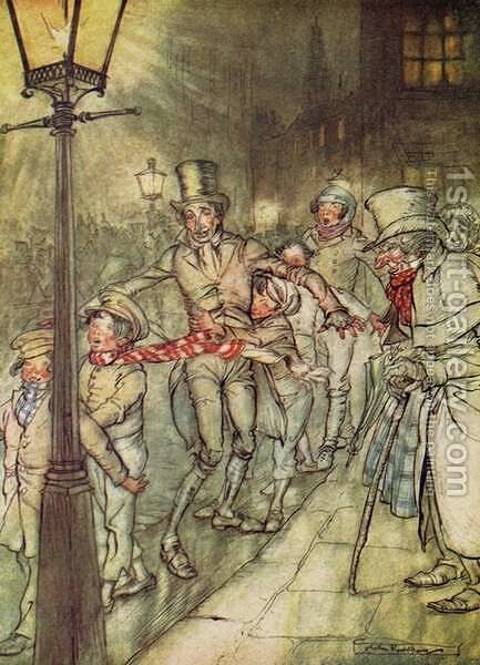 Bob Cratchit went down a slide on Cornhill, from A Christmas Carol by Arthur Rackham - Reproduction Oil Painting