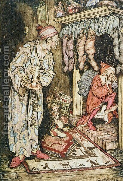 Christmas illustrations, from The Night Before Christmas by Clement C. Moore, 1931 by Arthur Rackham - Reproduction Oil Painting