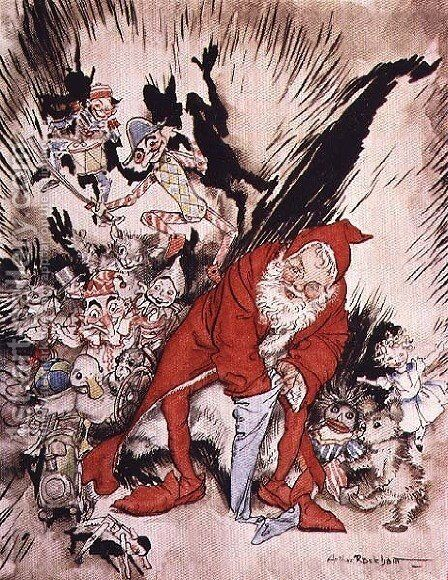 Christmas illustrations, from The Night Before Christmas by Clement C. Moore, 1931 99;Father Christmas filling the stockings; A Visit from St. Nicholas; poem by Arthur Rackham - Reproduction Oil Painting
