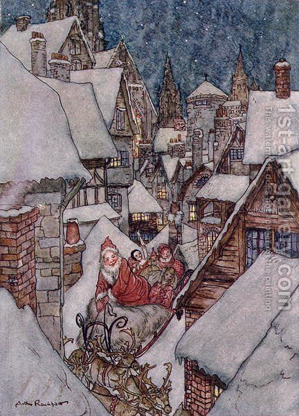 Christmas illustrations, from The Night Before Christmas by Clement C. Moore, 1931 2 by Arthur Rackham - Reproduction Oil Painting