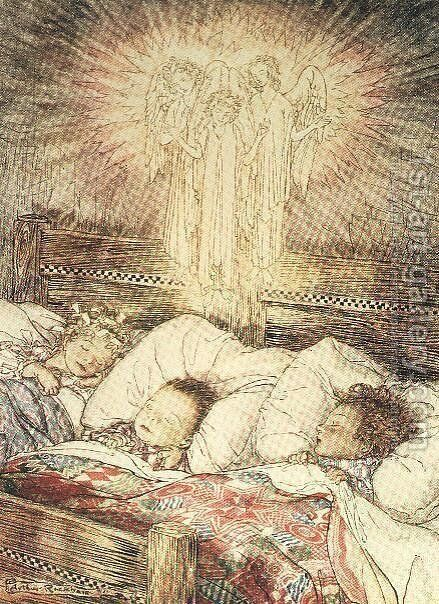 Christmas illustrations, from The Night Before Christmas by Clement Clarke Moore, 1931 by Arthur Rackham - Reproduction Oil Painting