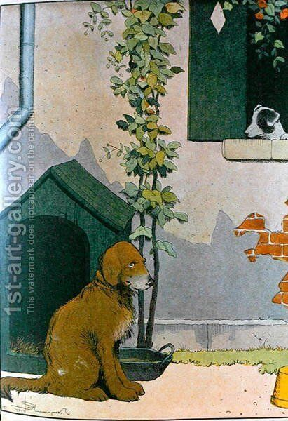 Dog, illustration from Le Buffon de Benjamin Rabier, adapted from Histoire Naturelle of Georges de Buffon 1707-88 by Benjamin Rabier - Reproduction Oil Painting