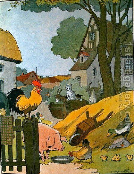 The Farm Yard, illustration from Le Buffon de Benjamin Rabier, adapted from Histoire Naturelle of Georges de Buffon 1707-88 by Benjamin Rabier - Reproduction Oil Painting