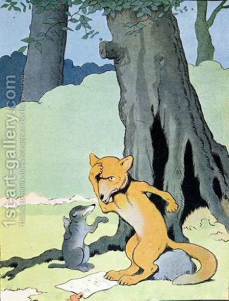 Grimbeau the Badger and Renard the Fox, illustration from Le Roman de Renard, c.1900 by Benjamin Rabier - Reproduction Oil Painting