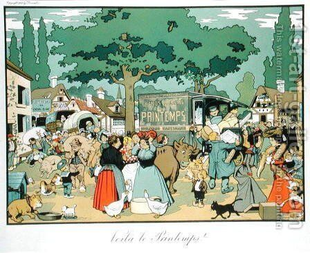 Poster advertising Le Printemps delivery service, 1904 by Benjamin Rabier - Reproduction Oil Painting