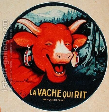 Label design for La vache qui rit cheese, c.1935 by Benjamin Rabier - Reproduction Oil Painting