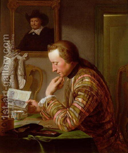 Gentleman Reading at a Table by Candlelight by Jan Maurits Quinckhardt - Reproduction Oil Painting