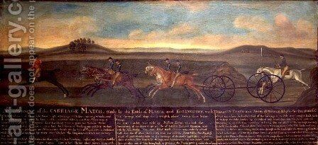 The Carriage Match run by the Earls of March and Eglington on Newmarket Heath, 29th August 1780 by Daniel Quigley - Reproduction Oil Painting