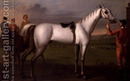 Groom holding a grey racehorse by Daniel Quigley - Reproduction Oil Painting