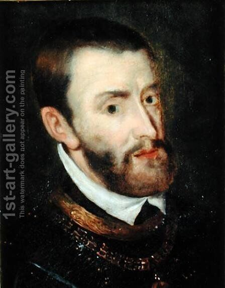 Portrait of Charles V 1500-58 by Augustin I Quesnel - Reproduction Oil Painting