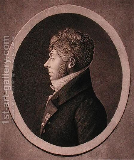 Portrait of Etienne-Nicolas Mehul 1763-1817 engraved by Edme Quenedey 1756-1830 by Edme Quenedey - Reproduction Oil Painting