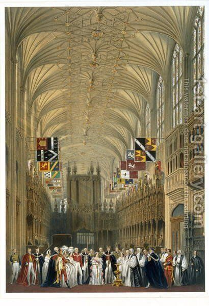 Interior of St Georges Chapel, 1838 by James Baker Pyne - Reproduction Oil Painting