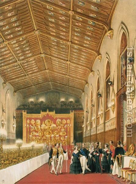 The Arrival of King Louis-Philippe, 1773-1850 Duc de Montpensier, St Georges Hall, Windsor Castle, 1838 by James Baker Pyne - Reproduction Oil Painting