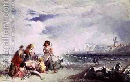 Fisherfolk on the Shore, Salting the Catch, Folkestone by James Baker Pyne - Reproduction Oil Painting