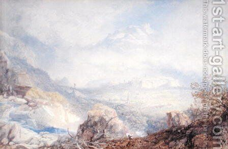 Valley of the Rhone with the City and Citadel of Sion in Switzerland, 1853 by James Baker Pyne - Reproduction Oil Painting