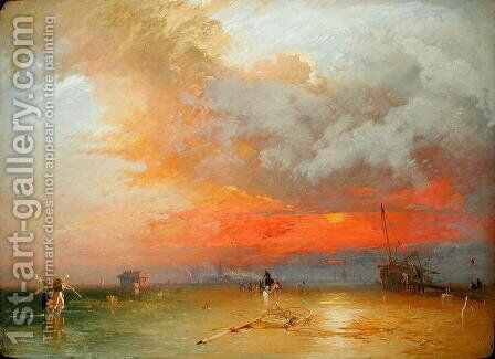 Sunset on Whitstable Sands, 1847 by James Baker Pyne - Reproduction Oil Painting